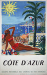 Poster Cote d'azur  French Railways   SNCF   1949  Hervé Baille