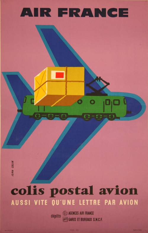affiche colis postal avion air france 1958 jean colin. Black Bedroom Furniture Sets. Home Design Ideas