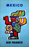 Poster  Mexico  Air France  1957  Jean Colin