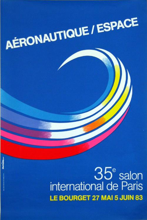 Affiche aeronautique espace 35e salon le bourget 1983 jacques auriac - Salon aeronautique bourget ...