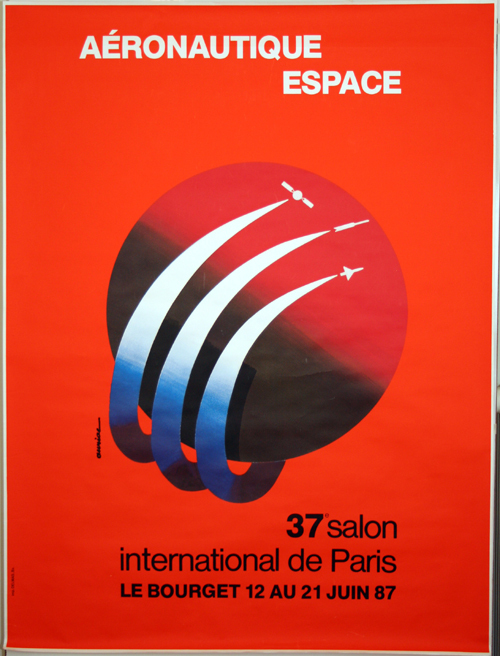 Affiche aeronautique espace 37e salon 1987 le bourget jacques auriac - Salon de la caravane au bourget ...
