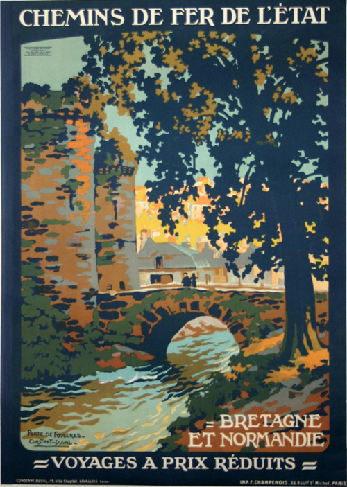 poster bretagne et normandie french railways chemin de fer de l 39 etat 1920 constant duval www. Black Bedroom Furniture Sets. Home Design Ideas