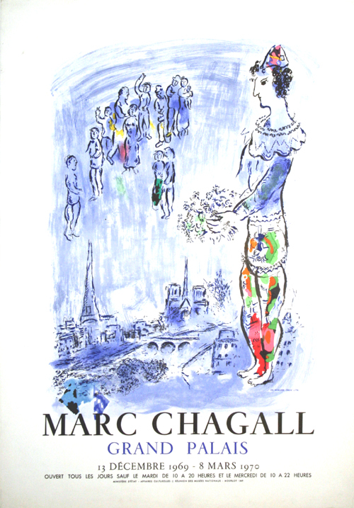 poster chagall marc le magicien de paris exposition du grand palais 1970. Black Bedroom Furniture Sets. Home Design Ideas