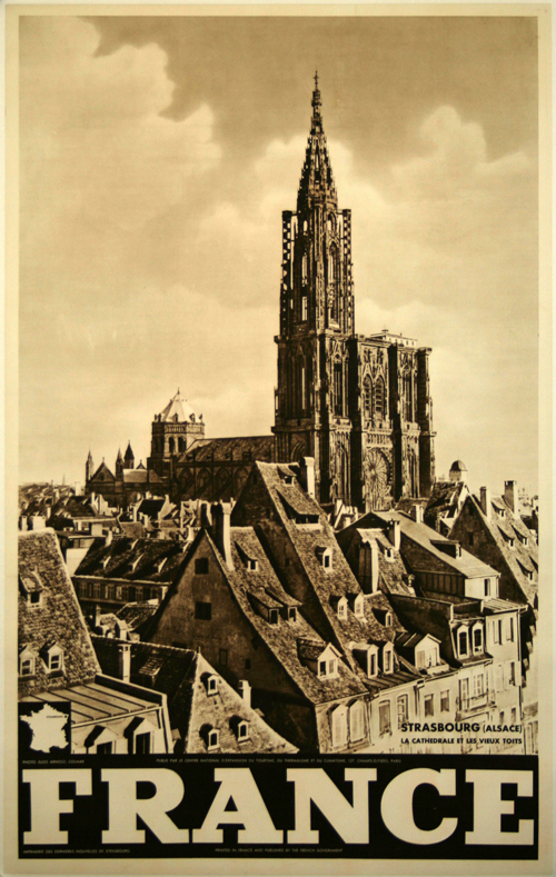 poster france strasbourg la cath drale et les vieux toits 1956 jules arnold. Black Bedroom Furniture Sets. Home Design Ideas