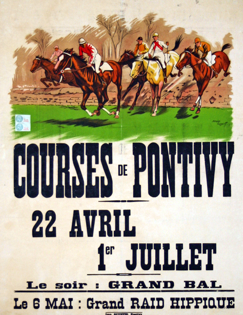poster horse racing pontivy circa 1932 maurice toussaint. Black Bedroom Furniture Sets. Home Design Ideas