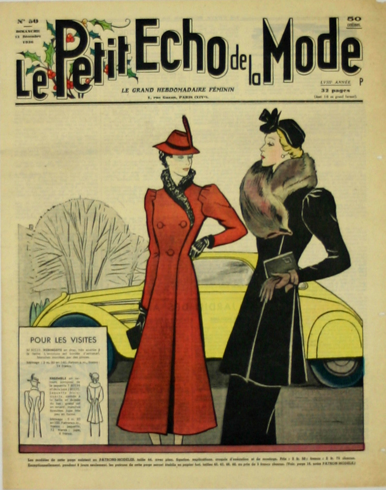 poster magazine cover le petit echo de la mode 1936. Black Bedroom Furniture Sets. Home Design Ideas