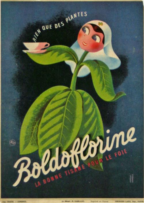 affiche boldoflorine la bonne tisane pour le foie 1938. Black Bedroom Furniture Sets. Home Design Ideas