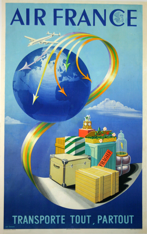 affiche air france transporte tout partout super constellation 1952 alphonse deh din www. Black Bedroom Furniture Sets. Home Design Ideas
