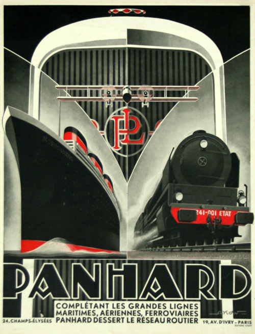affiche art d co panhard dessert le r seau routier 1930 alexis know. Black Bedroom Furniture Sets. Home Design Ideas