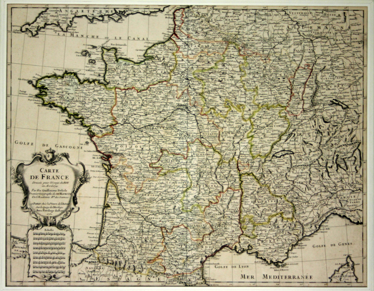 Map Of France Poster.Poster Map Of France Set For The King 1721 Guillaume Delisle