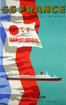 Poster S S France  French Line  C G Transatlantique  Le Havre New York 1970 J Jacquelin