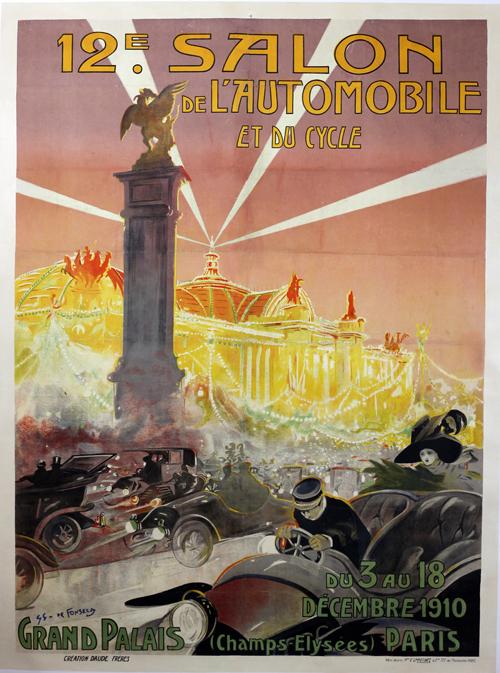 Affiche 12e salon de l 39 automobile et du cycle paris1910 - Affiche salon de l auto ...