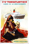 Poster C G  Transatlantique  1952  Steamer  City   of Tunis  A Brenet