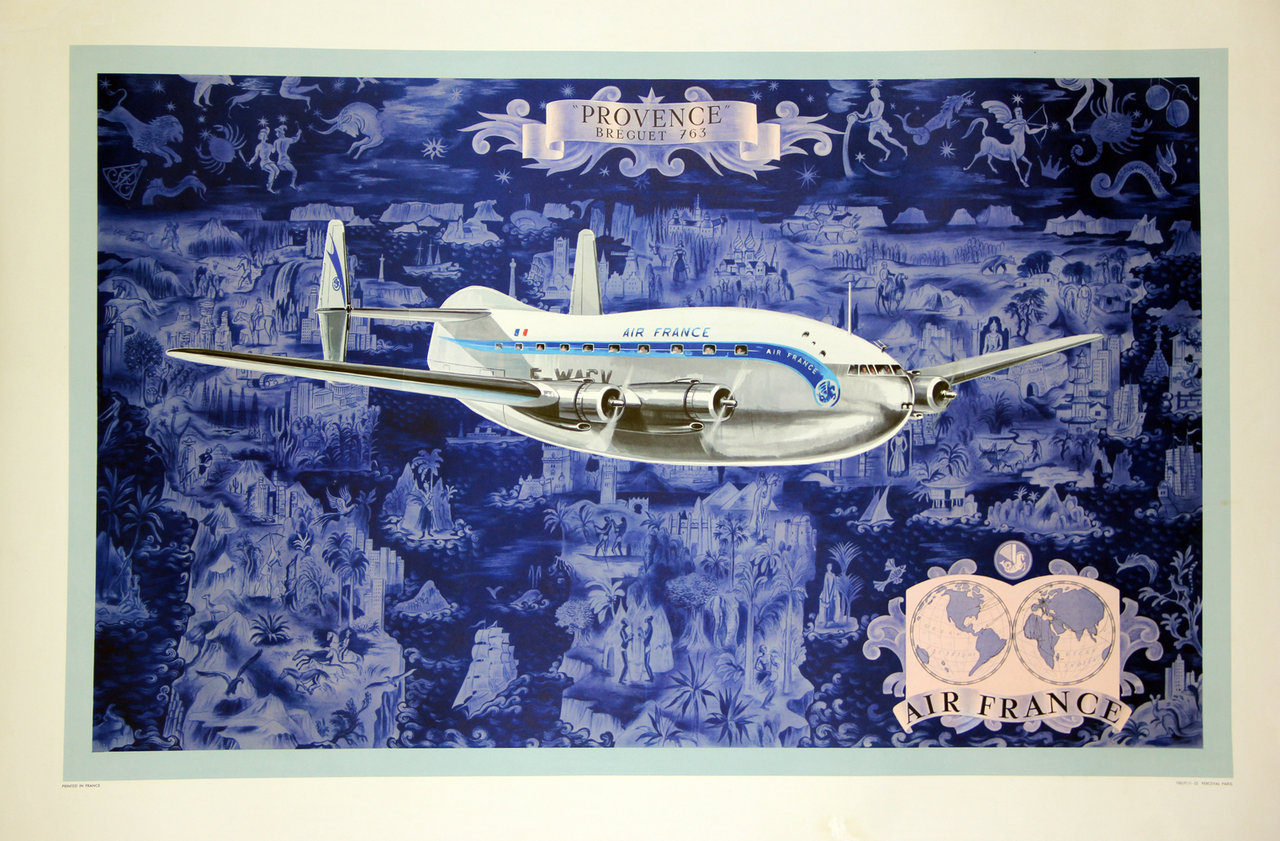 affiche air france provence breguet 763 lucien boucher 1953. Black Bedroom Furniture Sets. Home Design Ideas
