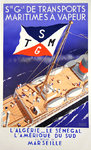 Poster Roland Ansieau  Steam Maritime Transport  Societe Generale 1937