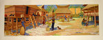 Original Vintage Lithography  Poster  J J  Midderigh  1935 Daily Life in a Batak Village