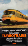 French Railways Poster    Turbotrains  Paris Caen Cherbourg  1975