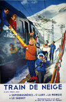 Affiche  Train de Neige  Super Bagniere St Larry La Mongie Le Saquet 1960