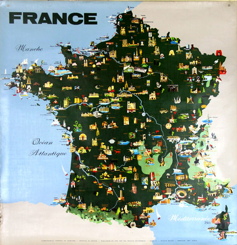 Map Of France Poster.Poster French Map Its Monuments Drawing Hayon 1967 Plastic School Map