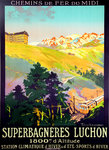 French National Railways Poster  Superbagneres Luchon    Lacaze Julien 1920