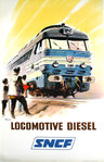 French Railways Poster  Locomotive Diesel    Brenet Albert 1966