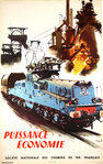 Poster  French Railways   Puissance Economie  Albert Brenet  1957