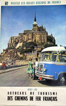 French Railways Poster   Whis  Tourism  Cars  Mont St Michel     1962
