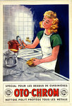 Poster  Oto  Chrom  Cleans, Polishes, Protects all Metals  1947