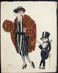 Lithograph  Elegante in   Fur  1921