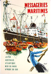 Affiche  Messageries Maritimes  Japon  Albert Brenet  1950