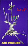 Affiche  Air France Israel  Georges Mathieu   1950