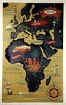 Poster   Sabena  Map of   Africa and Europe  C  Dohet  1950