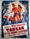 Poster  Tarzan  and Leopard   Wommen   Johnny Weissmuller  1946