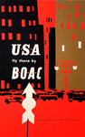 Affiche  USA  Fly There  By  BOAC   Circa 1950